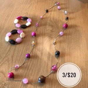 Jewelry - Long Sparkle Pink & Brown Necklace + 2 Bracelets